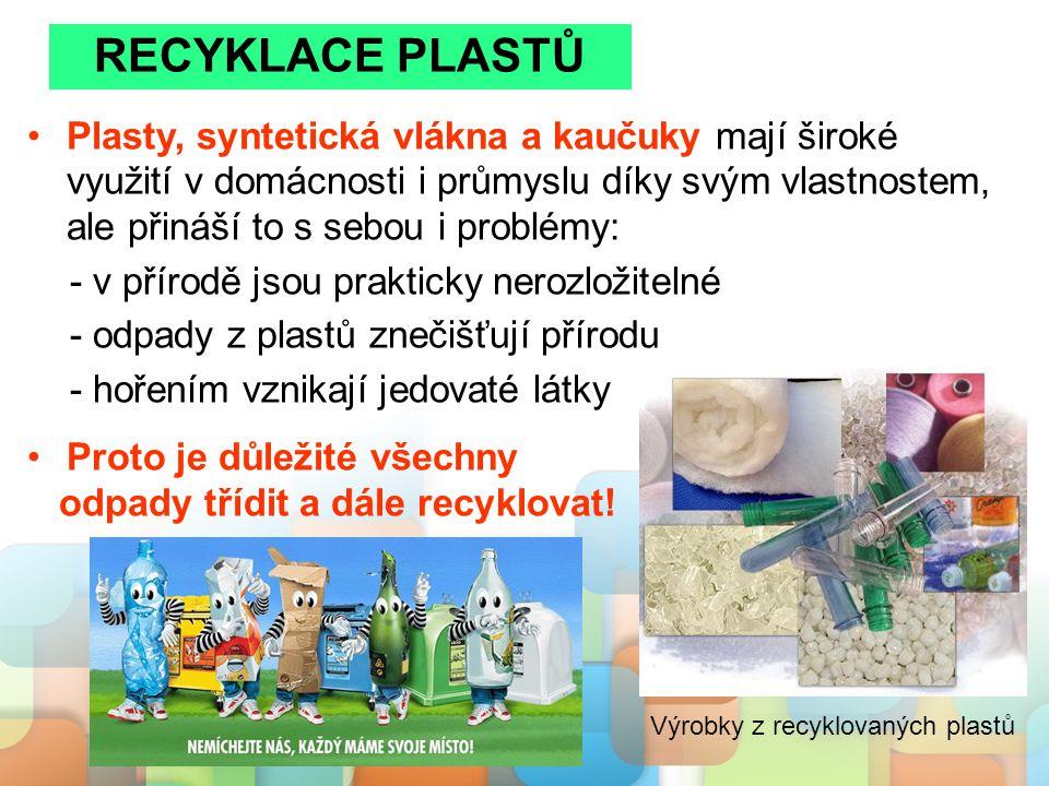 Plasty, syntetická vlákna a kaučuky mají široké využití v domácnosti i průmyslu díky svým vlastnostem, ale přináší to s sebou i problémy: - v přírodě