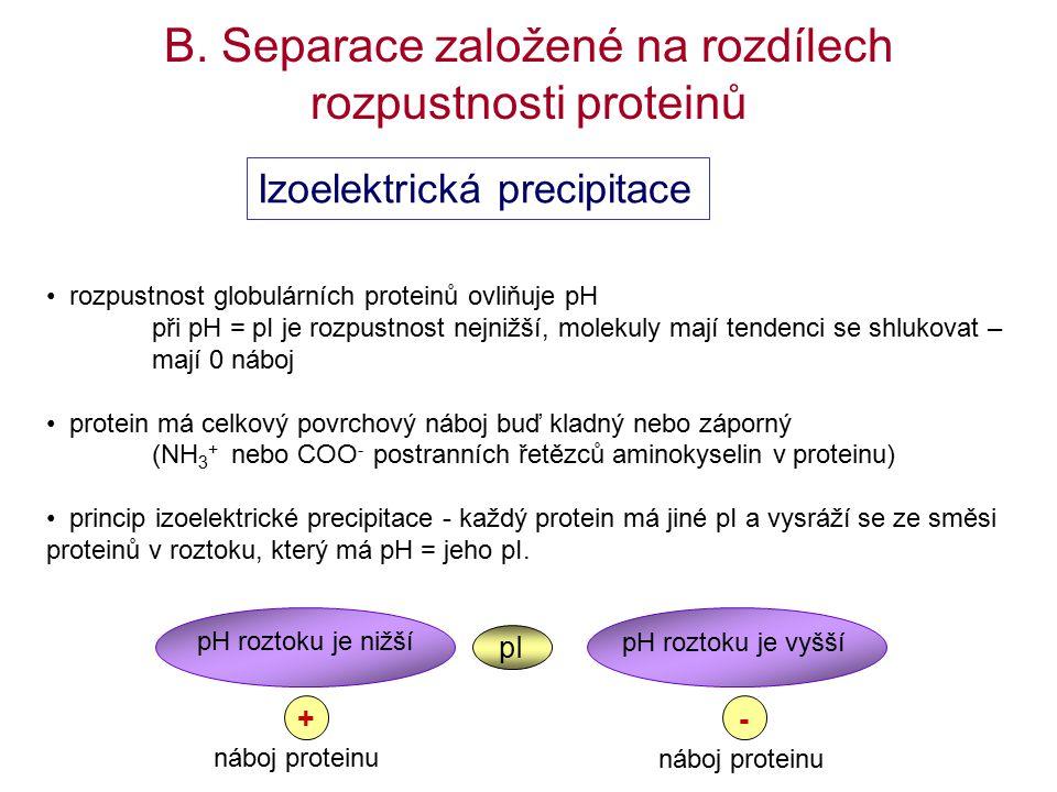 rozpustnost globulárních proteinů ovliňuje pH při pH = pI je rozpustnost nejnižší, molekuly mají tendenci se shlukovat – mají 0 náboj protein má celkový povrchový náboj buď kladný nebo záporný (NH 3 + nebo COO - postranních řetězců aminokyselin v proteinu) princip izoelektrické precipitace - každý protein má jiné pI a vysráží se ze směsi proteinů v roztoku, který má pH = jeho pI.