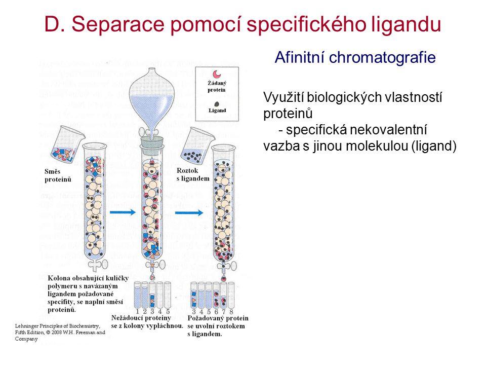 D. Separace pomocí specifického ligandu Využití biologických vlastností proteinů - specifická nekovalentní vazba s jinou molekulou (ligand) Afinitní c