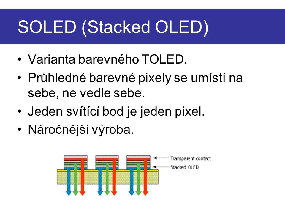 SOLED (Stacked OLED) Varianta barevného TOLED.