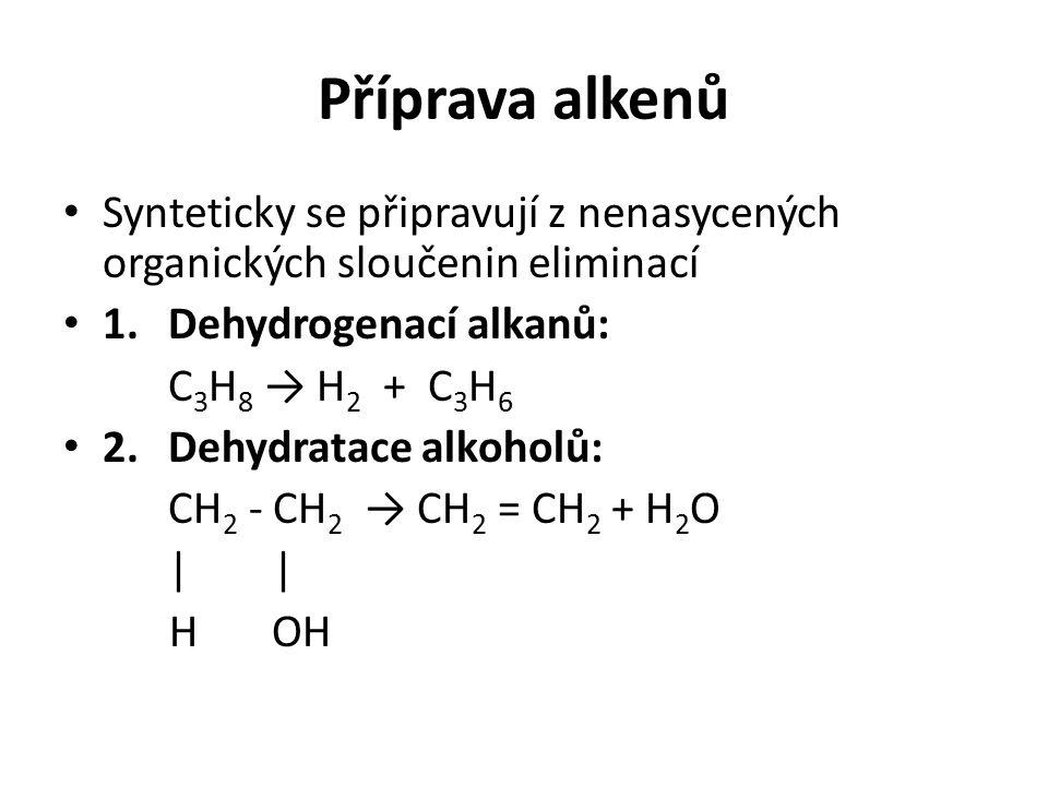 Příprava alkenů Synteticky se připravují z nenasycených organických sloučenin eliminací 1.Dehydrogenací alkanů: C 3 H 8 → H 2 + C 3 H 6 2.Dehydratace alkoholů: CH 2 - CH 2 → CH 2 = CH 2 + H 2 O| H OH
