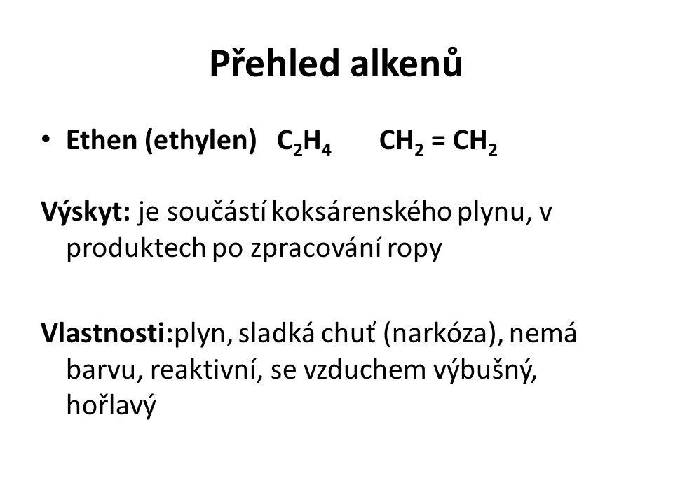 Přehled alkenů Ethen (ethylen) C 2 H 4 CH 2 = CH 2 Výskyt: je součástí koksárenského plynu, v produktech po zpracování ropy Vlastnosti:plyn, sladká chuť (narkóza), nemá barvu, reaktivní, se vzduchem výbušný, hořlavý