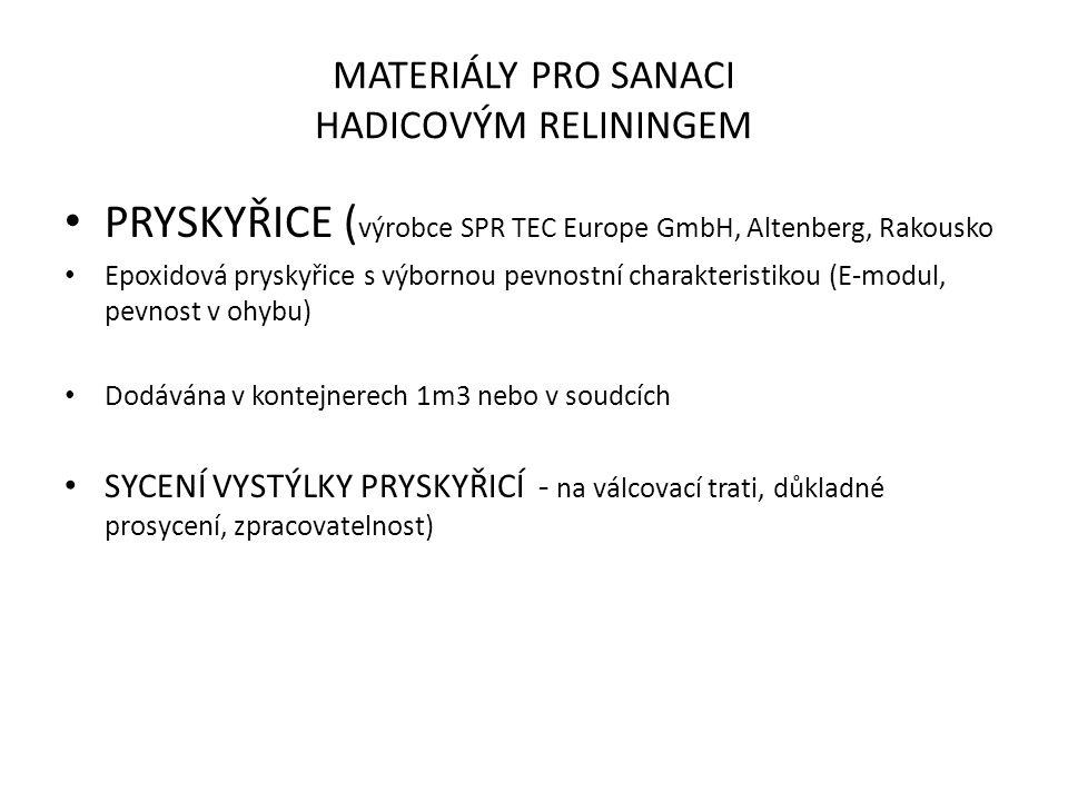 MATERIÁLY PRO SANACI HADICOVÝM RELININGEM PRYSKYŘICE ( výrobce SPR TEC Europe GmbH, Altenberg, Rakousko Epoxidová pryskyřice s výbornou pevnostní charakteristikou (E-modul, pevnost v ohybu) Dodávána v kontejnerech 1m3 nebo v soudcích SYCENÍ VYSTÝLKY PRYSKYŘICÍ - na válcovací trati, důkladné prosycení, zpracovatelnost)
