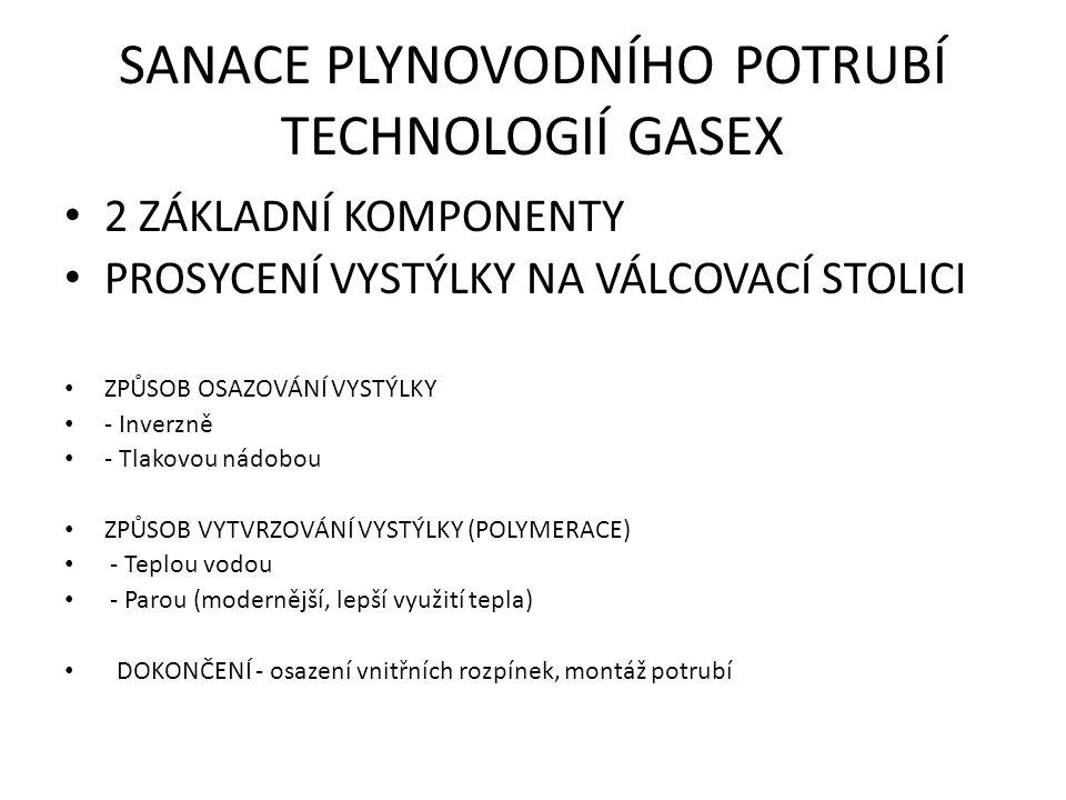 SANACE PLYNOVODNÍHO POTRUBÍ TECHNOLOGIÍ GASEX 2 ZÁKLADNÍ KOMPONENTY PROSYCENÍ VYSTÝLKY NA VÁLCOVACÍ STOLICI ZPŮSOB OSAZOVÁNÍ VYSTÝLKY - Inverzně - Tlakovou nádobou ZPŮSOB VYTVRZOVÁNÍ VYSTÝLKY (POLYMERACE) - Teplou vodou - Parou (modernější, lepší využití tepla) DOKONČENÍ - osazení vnitřních rozpínek, montáž potrubí