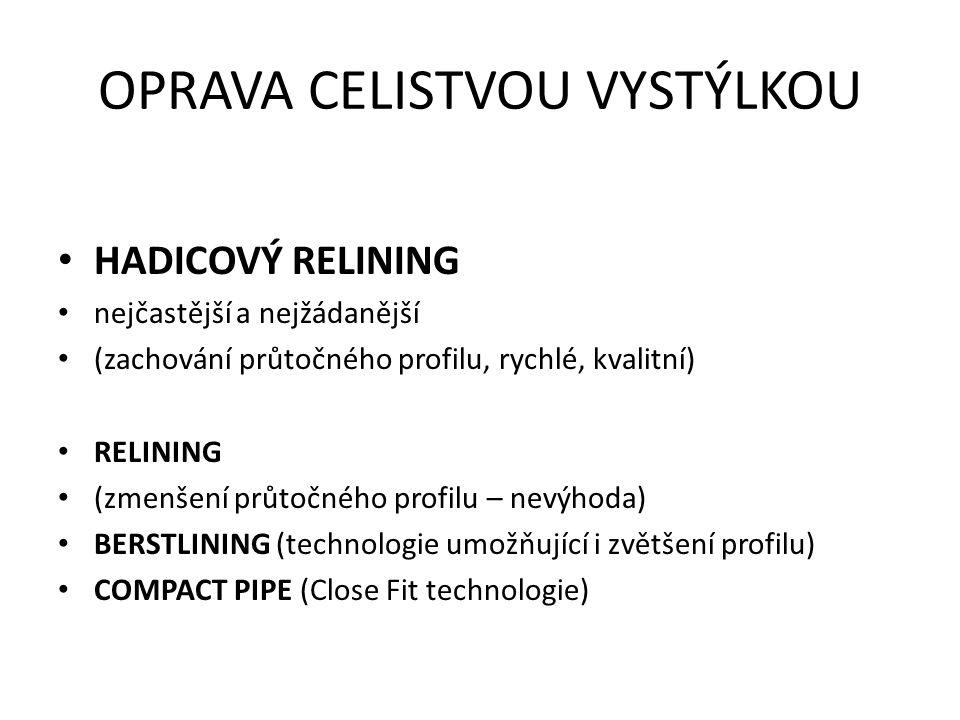 OPRAVA CELISTVOU VYSTÝLKOU HADICOVÝ RELINING nejčastější a nejžádanější (zachování průtočného profilu, rychlé, kvalitní) RELINING (zmenšení průtočného profilu – nevýhoda) BERSTLINING (technologie umožňující i zvětšení profilu) COMPACT PIPE (Close Fit technologie)