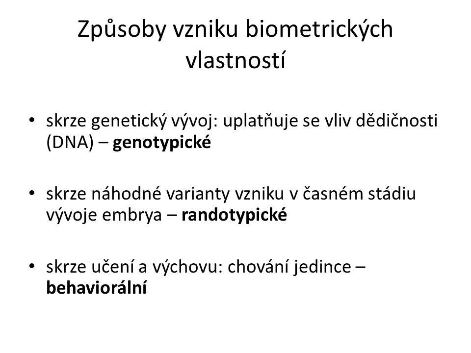 Způsoby vzniku biometrických vlastností skrze genetický vývoj: uplatňuje se vliv dědičnosti (DNA) – genotypické skrze náhodné varianty vzniku v časném