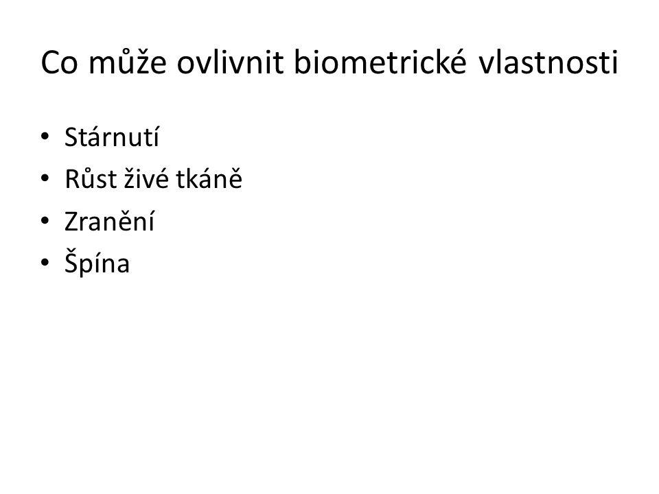 Co může ovlivnit biometrické vlastnosti Stárnutí Růst živé tkáně Zranění Špína