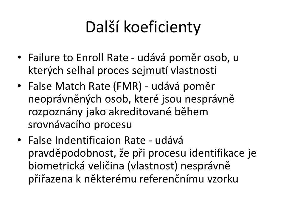 Další koeficienty Failure to Enroll Rate - udává poměr osob, u kterých selhal proces sejmutí vlastnosti False Match Rate (FMR) - udává poměr neoprávně