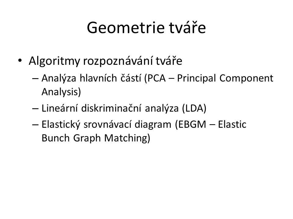 Geometrie tváře Algoritmy rozpoznávání tváře – Analýza hlavních částí (PCA – Principal Component Analysis) – Lineární diskriminační analýza (LDA) – El