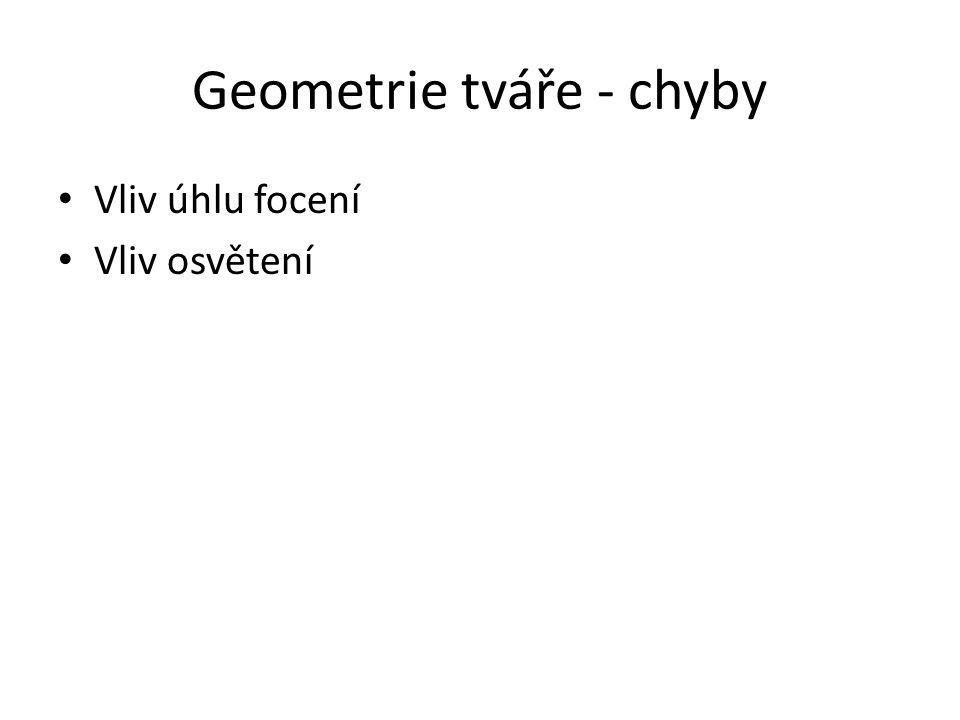 Geometrie tváře - chyby Vliv úhlu focení Vliv osvětení