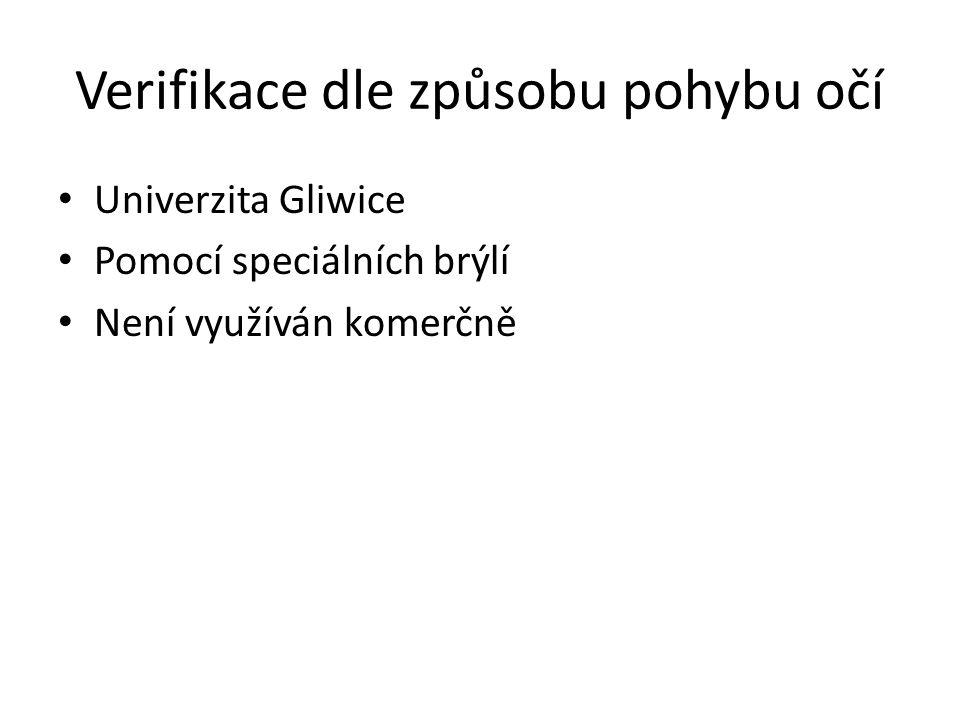 Verifikace dle způsobu pohybu očí Univerzita Gliwice Pomocí speciálních brýlí Není využíván komerčně
