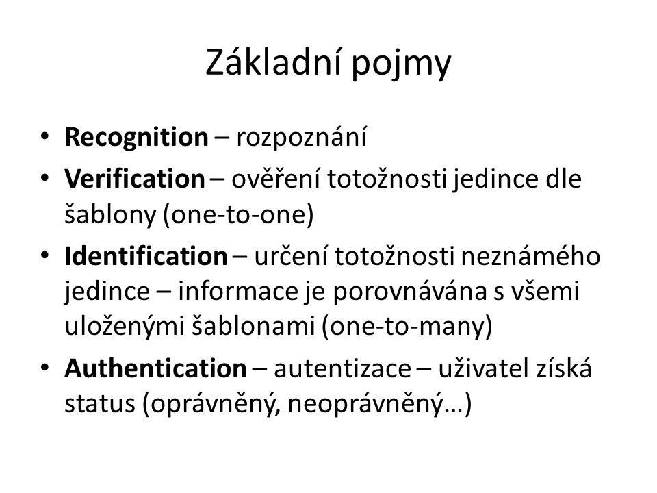Základní pojmy Recognition – rozpoznání Verification – ověření totožnosti jedince dle šablony (one-to-one) Identification – určení totožnosti neznáméh