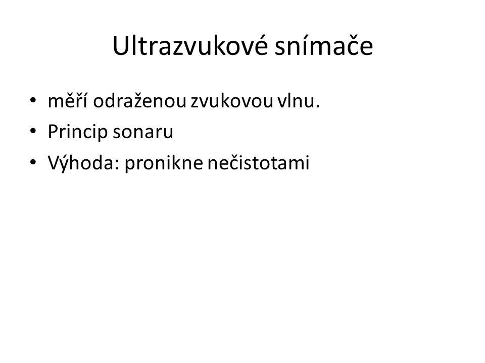 Ultrazvukové snímače měří odraženou zvukovou vlnu. Princip sonaru Výhoda: pronikne nečistotami