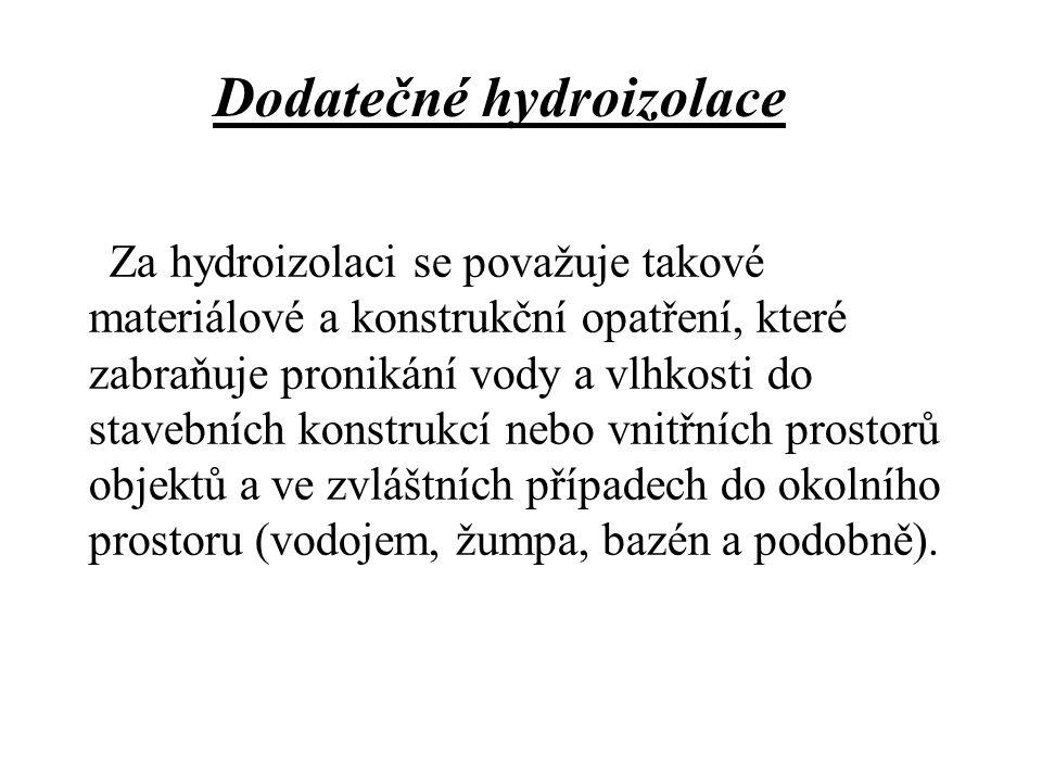 Opatření proti vlhkosti můžeme rozdělit na: 1)metody omezující vlhkost ve zdivu a) odkop zeminy okolo objektu, snížení terénu b) drenáž - okolo objektu i pod objektem c) injektáž základové půdy d) vzduchově izolační metody e) elektrofyzikální metody f) sanační omítky 2) vytvoření nepropustné vrstvy a) vložení dodatečné hydroizolace b) chemické metody