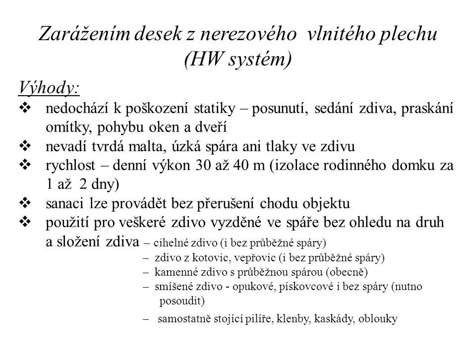Zarážením desek z nerezového vlnitého plechu (HW systém) Výhody:  nedochází k poškození statiky – posunutí, sedání zdiva, praskání omítky, pohybu oke