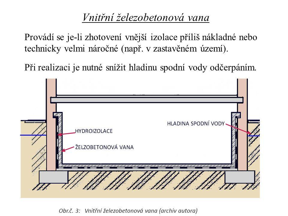 Vnitřní železobetonová vana Provádí se je-li zhotovení vnější izolace příliš nákladné nebo technicky velmi náročné (např. v zastavěném území). Při rea