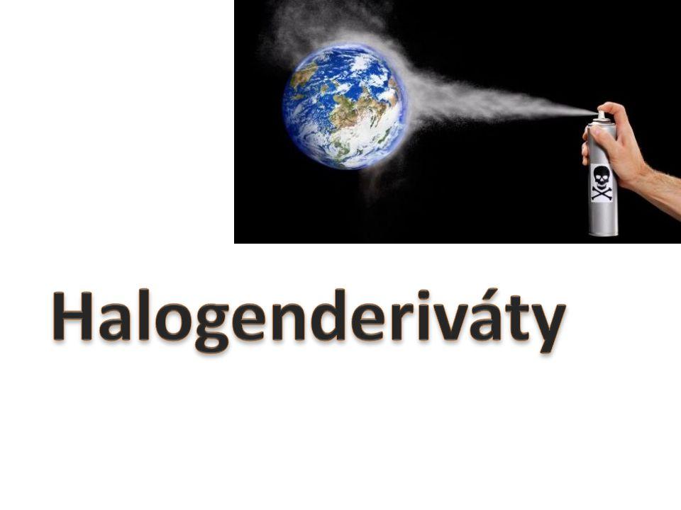 = halogenové uhlovodíky obsahují ve svých molekulách vazbu uhlík-halogen (c-x) vznikly substitucí (nahrazením) alespoň jednoho atomu vodíku daného uhlovodíku halogenem bezbarvé, nehořlavé, nerozpustné ve vodě, rozpustné v organických rozpouštědlech nejnižší halogenderiváty jsou plyny nebo těkavé kapaliny, vyšší jsou pevné látky některé zdraví škodlivé, karcinogenní (vinylchlorid, tetrachlormethan), jedovaté (využívají se jako bojové látky, př.
