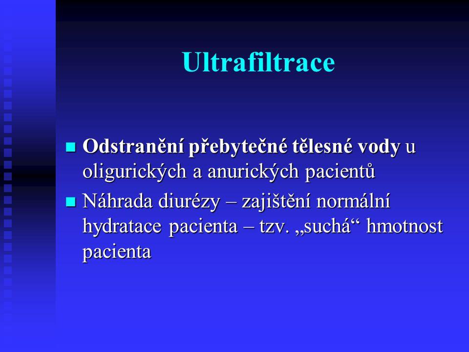 Ultrafiltrace Odstranění přebytečné tělesné vody u oligurických a anurických pacientů Odstranění přebytečné tělesné vody u oligurických a anurických p
