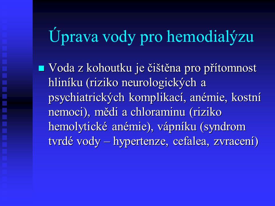 Úprava vody pro hemodialýzu Voda z kohoutku je čištěna pro přítomnost hliníku (riziko neurologických a psychiatrických komplikací, anémie, kostní nemo