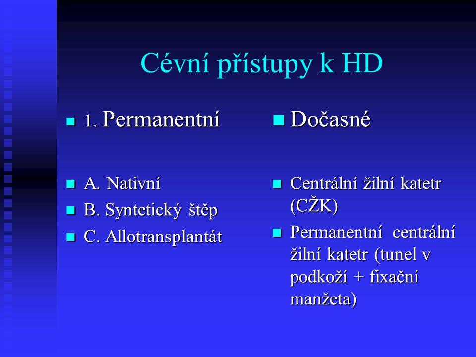 Cévní přístupy k HD 1. Permanentní 1. Permanentní A. Nativní A. Nativní B. Syntetický štěp B. Syntetický štěp C. Allotransplantát C. Allotransplantát