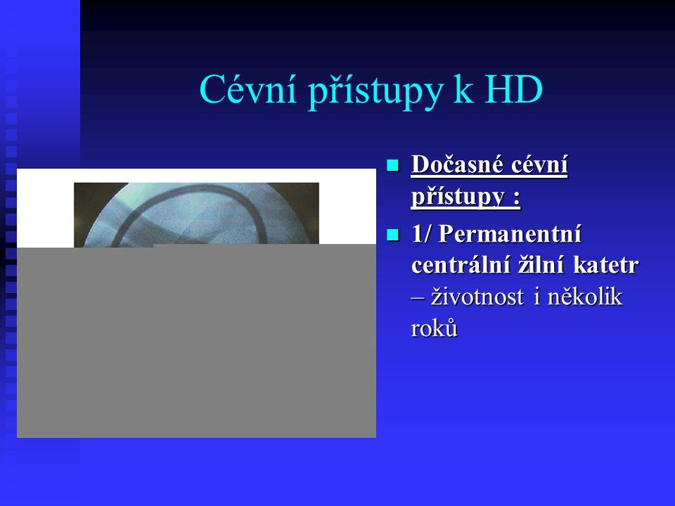 Cévní přístupy k HD Dočasné cévní přístupy : 1/ Permanentní centrální žilní katetr – životnost i několik roků