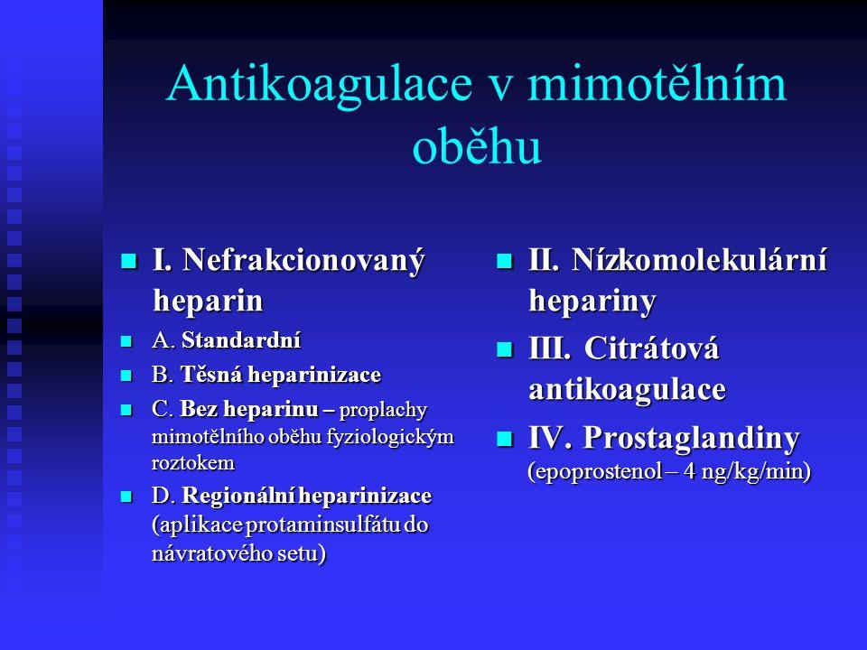 Antikoagulace v mimotělním oběhu I. Nefrakcionovaný heparin I. Nefrakcionovaný heparin A. Standardní A. Standardní B. Těsná heparinizace B. Těsná hepa