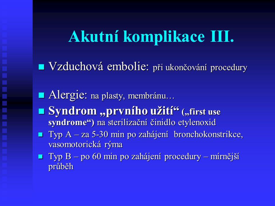 Akutní komplikace III. Vzduchová embolie: při ukončování procedury Vzduchová embolie: při ukončování procedury Alergie: na plasty, membránu… Alergie: