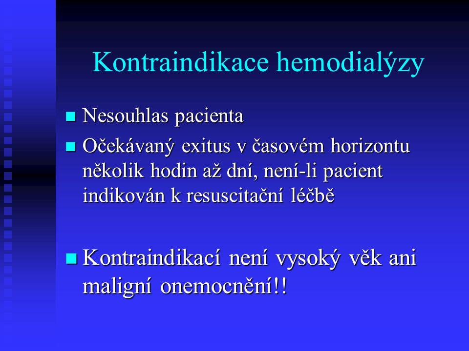 Kontraindikace hemodialýzy Nesouhlas pacienta Nesouhlas pacienta Očekávaný exitus v časovém horizontu několik hodin až dní, není-li pacient indikován