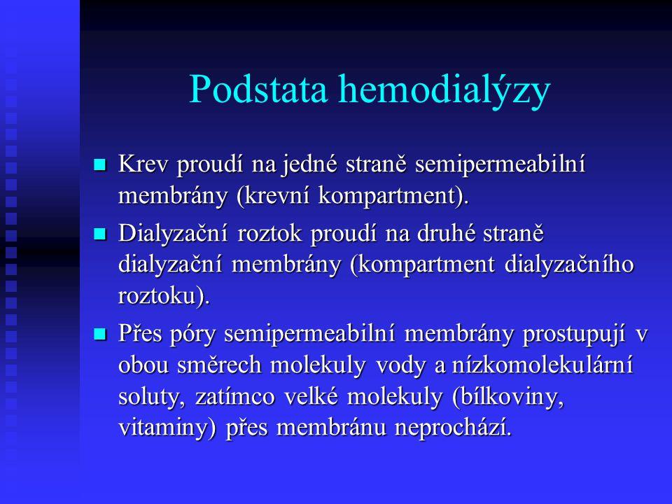 Podstata hemodialýzy Krev proudí na jedné straně semipermeabilní membrány (krevní kompartment). Krev proudí na jedné straně semipermeabilní membrány (