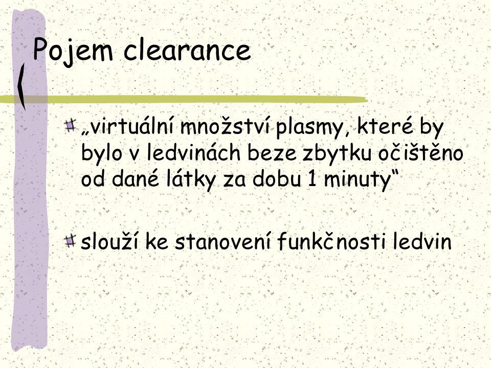 """Pojem clearance """"virtuální množství plasmy, které by bylo v ledvinách beze zbytku očištěno od dané látky za dobu 1 minuty"""" slouží ke stanovení funkčno"""