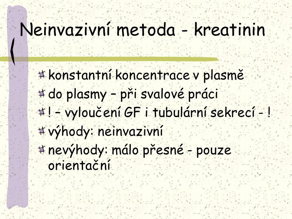 Neinvazivní metoda - kreatinin konstantní koncentrace v plasmě do plasmy – při svalové práci ! – vyloučení GF i tubulární sekrecí - ! výhody: neinvazi