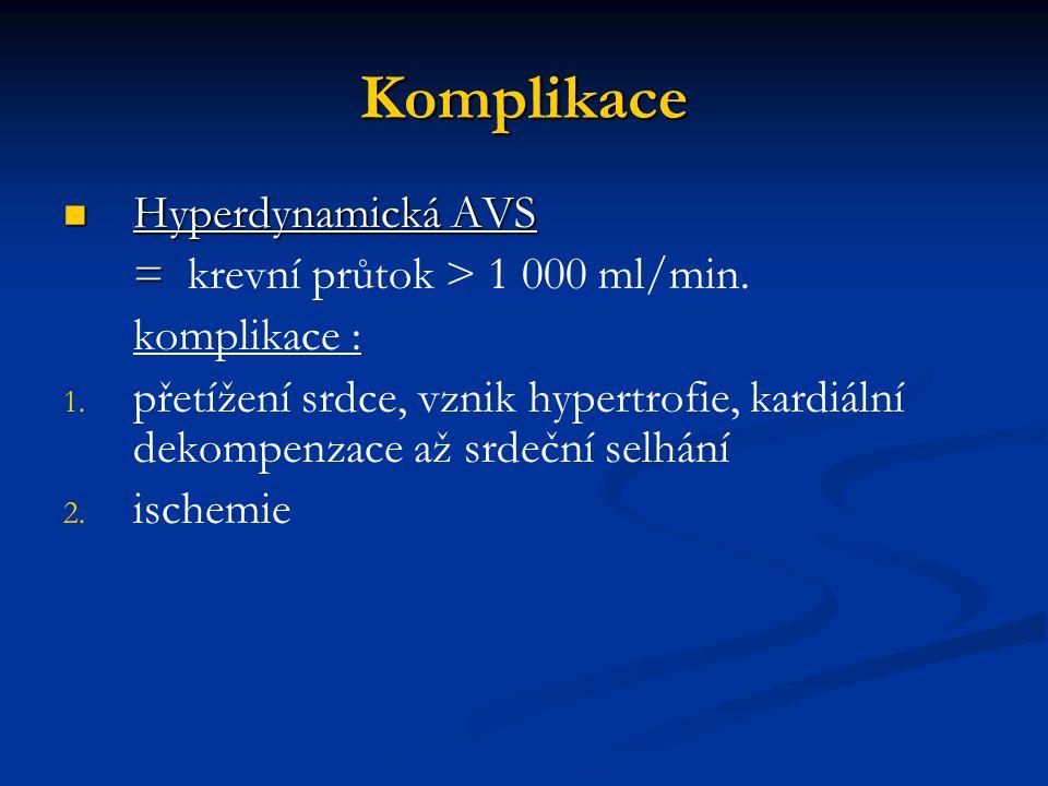 Komplikace Hyperdynamická AVS Hyperdynamická AVS = = krevní průtok > 1 000 ml/min. komplikace : 1. 1. přetížení srdce, vznik hypertrofie, kardiální de