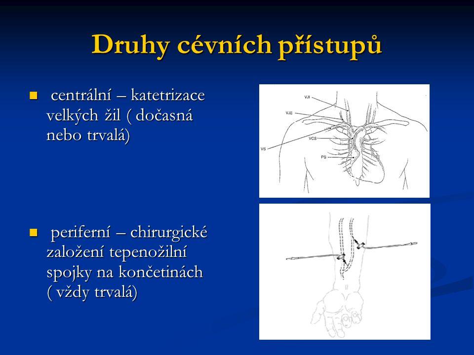 Druhy cévních přístupů centrální – katetrizace velkých žil ( dočasná nebo trvalá) centrální – katetrizace velkých žil ( dočasná nebo trvalá) periferní
