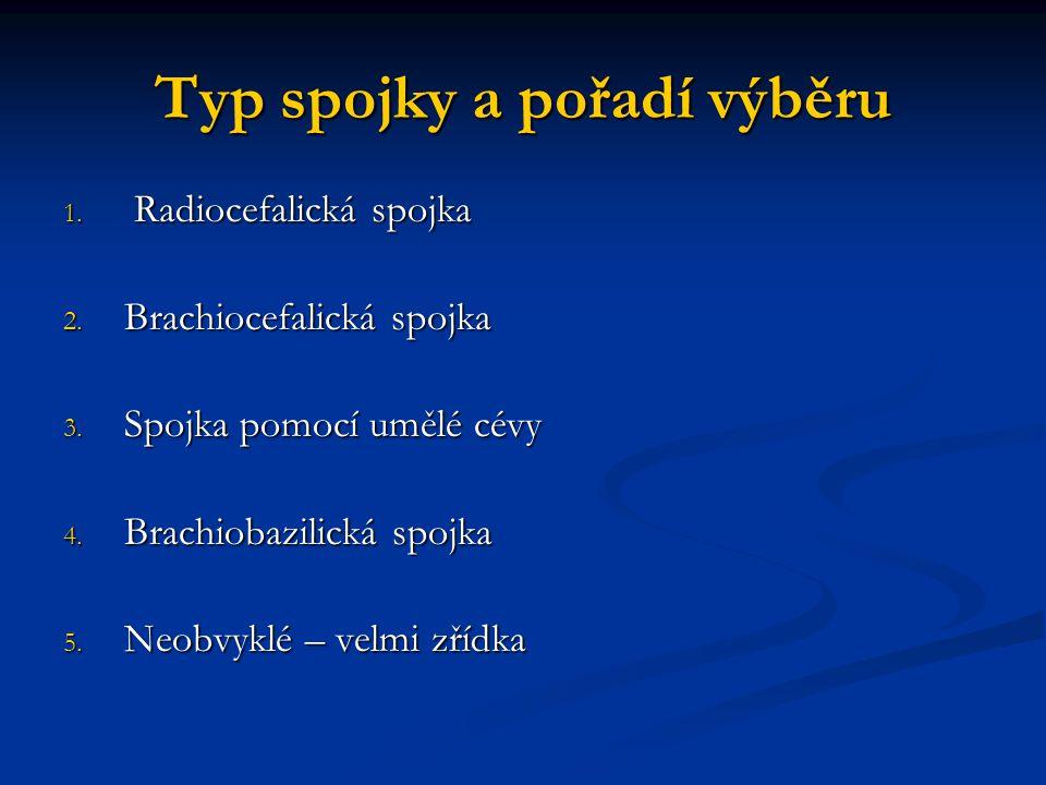 Typ spojky a pořadí výběru 1. Radiocefalická spojka 2. Brachiocefalická spojka 3. Spojka pomocí umělé cévy 4. Brachiobazilická spojka 5. Neobvyklé – v