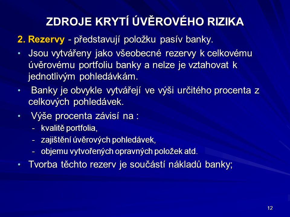 ZDROJE KRYTÍ ÚVĚROVÉHO RIZIKA 2.Rezervy - představují položku pasív banky.