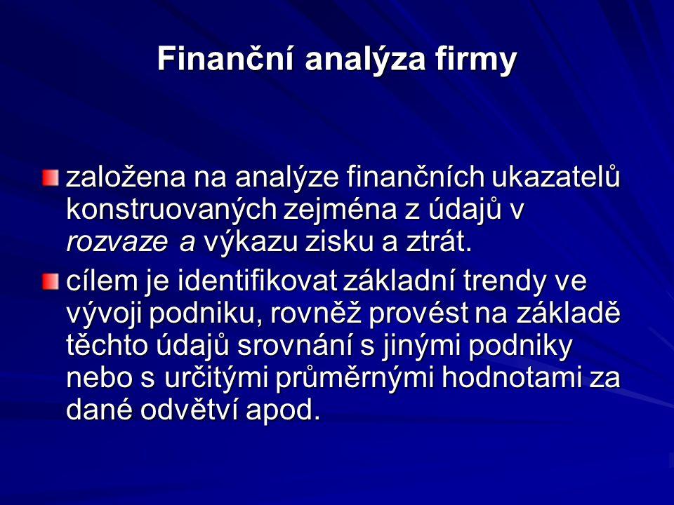 Finanční analýza firmy založena na analýze finančních ukazatelů konstruovaných zejména z údajů v rozvaze a výkazu zisku a ztrát.