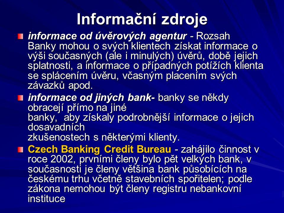 Informační zdroje informace od úvěrových agentur - Rozsah Banky mohou o svých klientech získat informace o výši současných (ale i minulých) úvěrů, dob