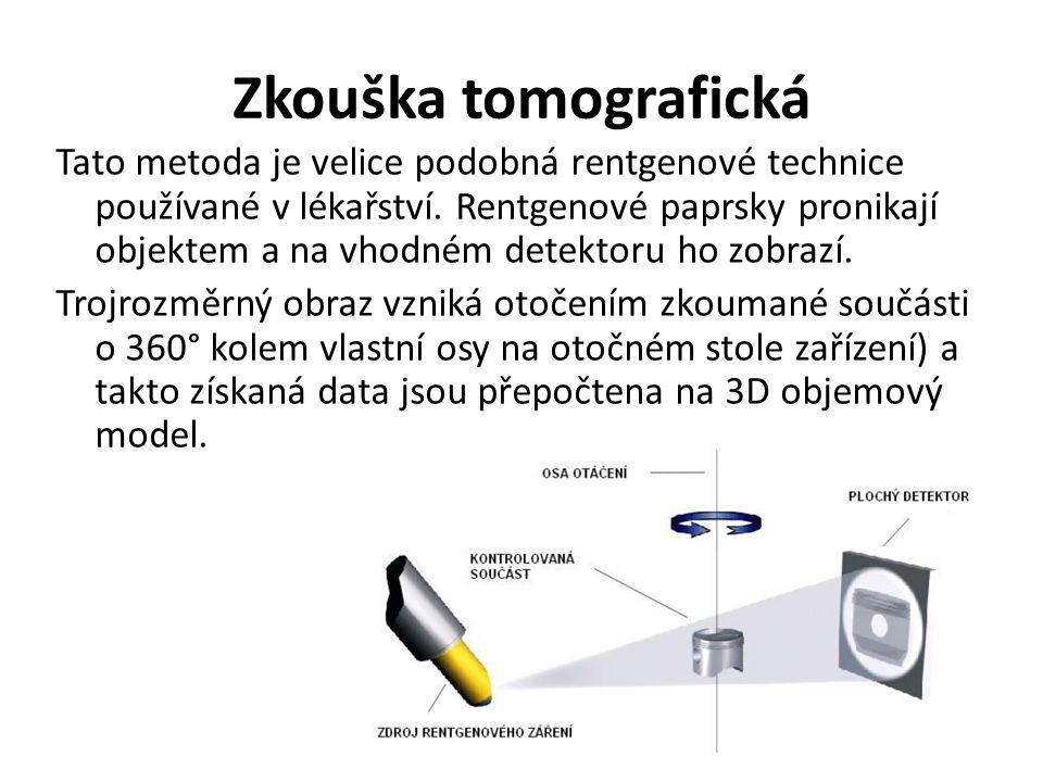 Zkouška tomografická Tato metoda je velice podobná rentgenové technice používané v lékařství.