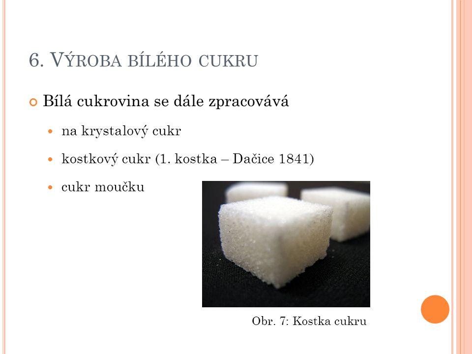 6. V ÝROBA BÍLÉHO CUKRU Bílá cukrovina se dále zpracovává na krystalový cukr kostkový cukr (1. kostka – Dačice 1841) cukr moučku Obr. 7: Kostka cukru