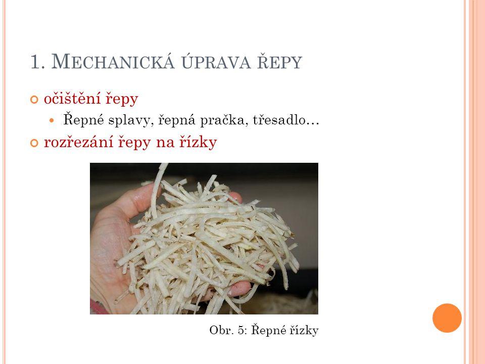 1. M ECHANICKÁ ÚPRAVA ŘEPY očištění řepy Řepné splavy, řepná pračka, třesadlo… rozřezání řepy na řízky Obr. 5: Řepné řízky