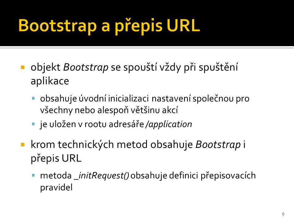  helpery se snaží usnadnit programátorovi dílčí opakované činnosti, zpravidla v rámci šablon  v projektu jsou použity předpřipravené helpery:  escape – bezpečnostní ošetření výpisu obsahu proměnných na výstup proti nebezpečnému kódu  url – vygenerování interní URL na základě parametrů  redirect – přesměrování na vybranou URL  vlastní helpery je také možné vytvářet  příslušné objekty v adresáři /application/views/helpers  nebo přímo v library  cleanUrl – očištění textu do URL od problematických znaků 7