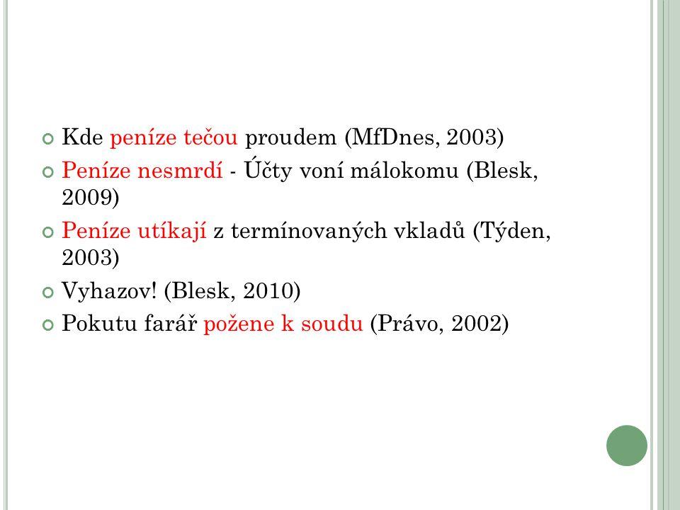 Kde peníze tečou proudem (MfDnes, 2003) Peníze nesmrdí - Účty voní málokomu (Blesk, 2009) Peníze utíkají z termínovaných vkladů (Týden, 2003) Vyhazov.