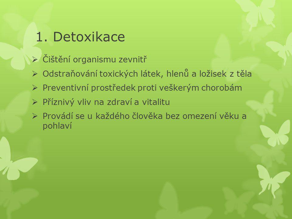 1. Detoxikace  Čištění organismu zevnitř  Odstraňování toxických látek, hlenů a ložisek z těla  Preventivní prostředek proti veškerým chorobám  Př