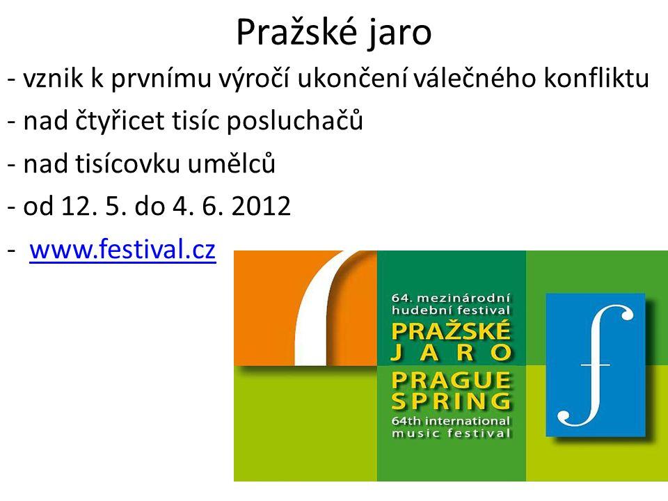 Pražské jaro - vznik k prvnímu výročí ukončení válečného konfliktu - nad čtyřicet tisíc posluchačů - nad tisícovku umělců - od 12. 5. do 4. 6. 2012 -