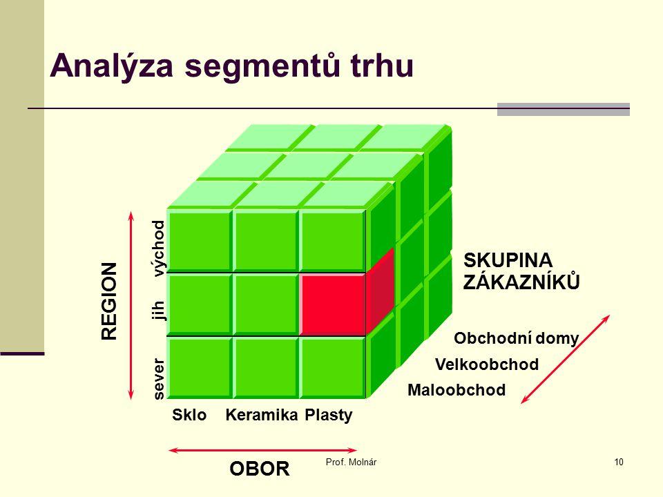 Analýza segmentů trhu Prof. Molnár10 SKUPINA ZÁKAZNÍKŮ OBOR REGION Obchodní domy Velkoobchod Maloobchod Sklo Keramika Plasty sever jih východ