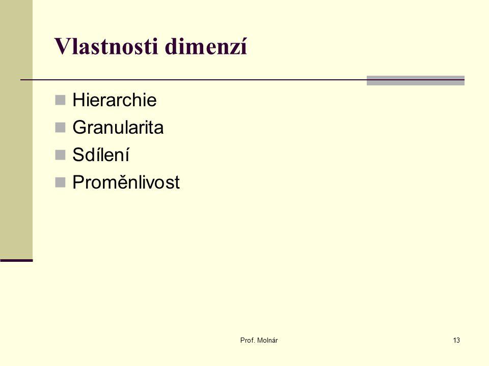 Vlastnosti dimenzí Hierarchie Granularita Sdílení Proměnlivost Prof. Molnár13