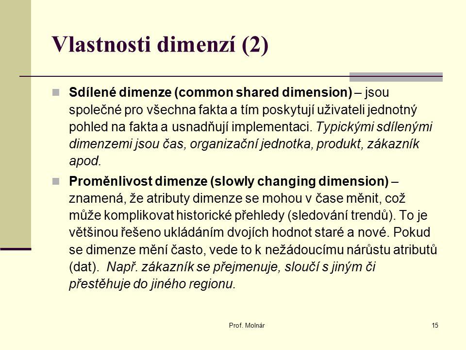 Vlastnosti dimenzí (2) Sdílené dimenze (common shared dimension) – jsou společné pro všechna fakta a tím poskytují uživateli jednotný pohled na fakta