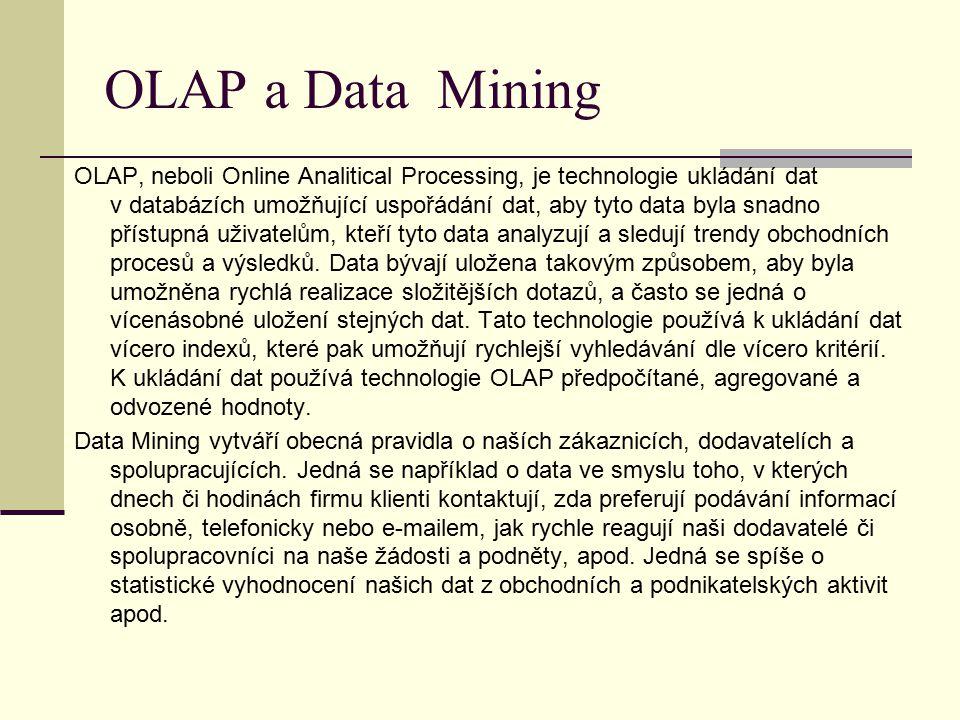 OLAP a Data Mining OLAP, neboli Online Analitical Processing, je technologie ukládání dat v databázích umožňující uspořádání dat, aby tyto data byla snadno přístupná uživatelům, kteří tyto data analyzují a sledují trendy obchodních procesů a výsledků.