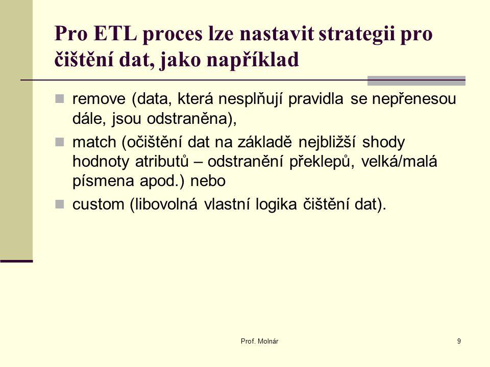 Pro ETL proces lze nastavit strategii pro čištění dat, jako například remove (data, která nesplňují pravidla se nepřenesou dále, jsou odstraněna), mat