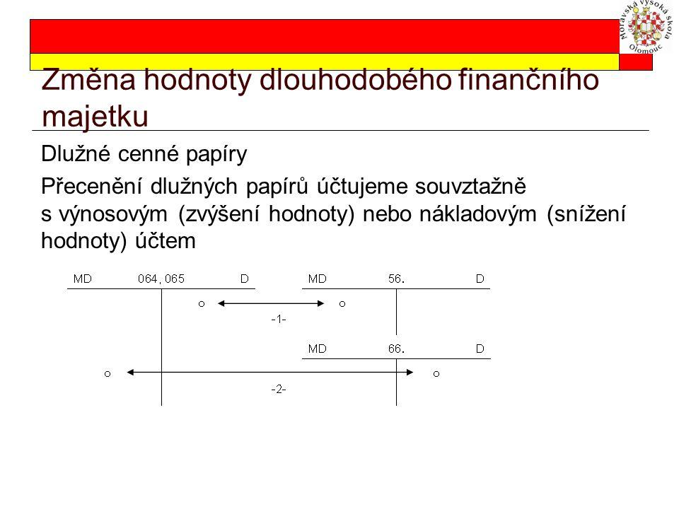 Změna hodnoty dlouhodobého finančního majetku Dlužné cenné papíry Přecenění dlužných papírů účtujeme souvztažně s výnosovým (zvýšení hodnoty) nebo nák